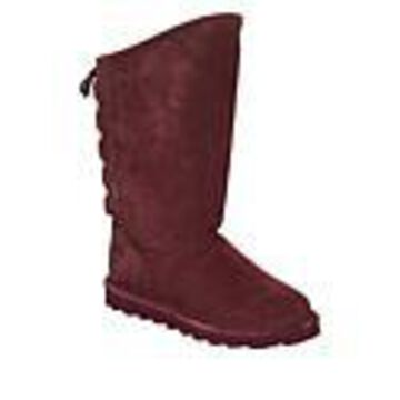BEARPAW Phylly Suede Laced-Back Boot with NeverWet - Red