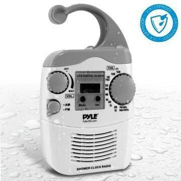 Pyle Hanging Waterproof Am/fm Shower Clock Radio (psr6)