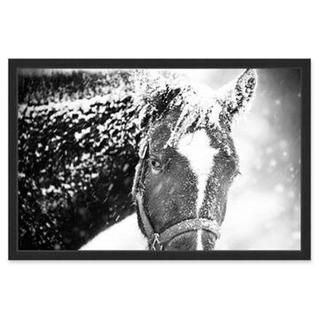 Marmont Hill White Horse Mask 30-Inch x 20-Inch Framed Wall Art