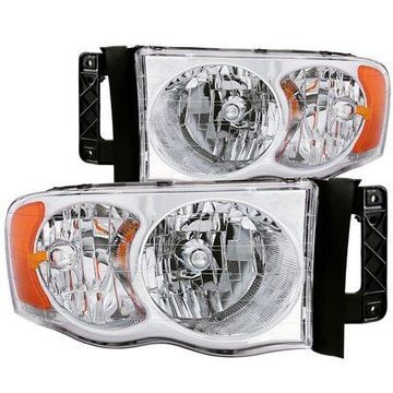 ANZO USA 111076 02-05 RAM HEADLIGHTS CRYSTAL CLEAR WITH AMBER REFLECTORS