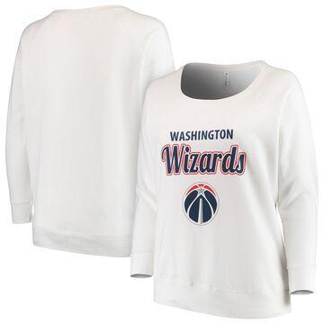 Washington Wizards Soft as a Grape Women's Curvy French Terry Slouch Crew Neck Sweatshirt - White