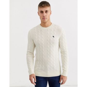 Abercrombie & Fitch icon logo cable knit sweater in cream