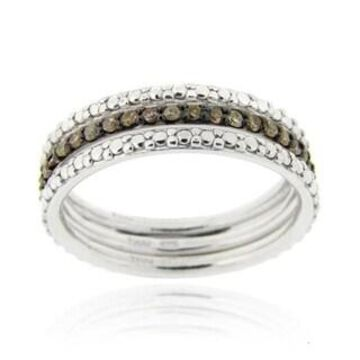 DB Designs Silver 2/5ct TDW Black or Brown Diamond Stackable Ring Set (Brown - Size 7)