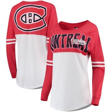 Women's 5th & Ocean by New Era White/Red Montreal Canadiens Baby Jersey Long Sleeve Crew T-Shirt