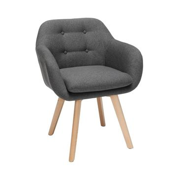 Set of 2 Tufted Fabric Mid-Century Modern Accent Chair with Arms Dining Chair Solid Beechwood Legs - OFM