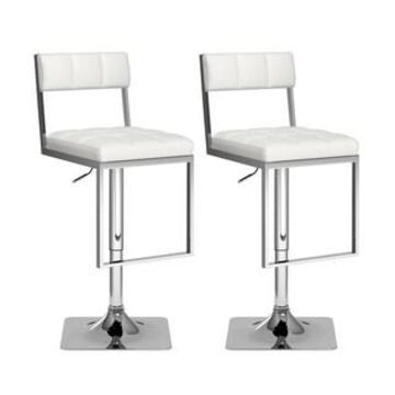 CorLiving Square Tufted Adjustable Leatherette Barstool (Set of 2) (White)