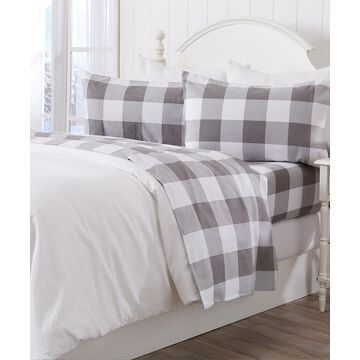 Home Fashion Designs Sheet Sets Buffalo - Gray & White Buffalo Check Belle Flannel Sheet Set