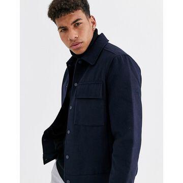 New Look faux wool jacket in navy