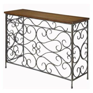 Bowery Hill Metal Console Table in Antique Black