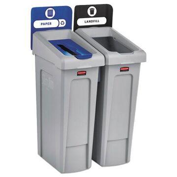 Slim Jim Recycling Station Kit, 46 gal, 2-Stream Landfill/Paper
