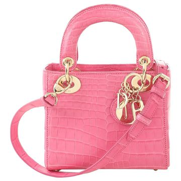 Dior Lady Dior Pink Leather Handbags