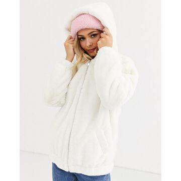 New Look fur hooded bomber jacket in white