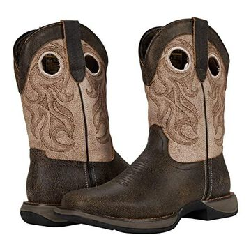 Roper Wilder (Brown Leather/Vintage White Shaft) Cowboy Boots