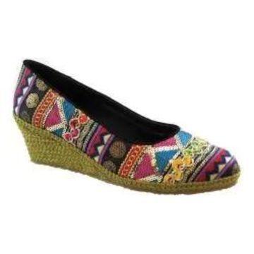 Women's Beacon Shoes Exotic Espadrille Wedge Black Multi Textile