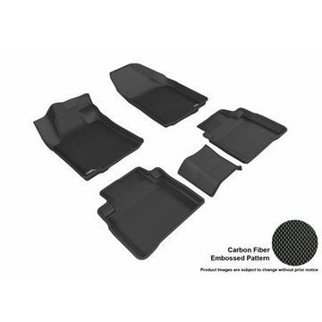 3D MAXpider 2016-2018 Nissan Maxima Front & Second Row Set All Weather Floor Liners in Black with Carbon Fiber Look