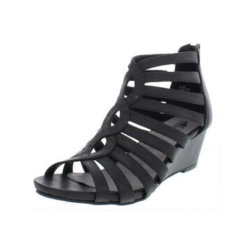 Cliffs by White Mountain Womens Victoria Wedge Sandals Faux Leather Caged