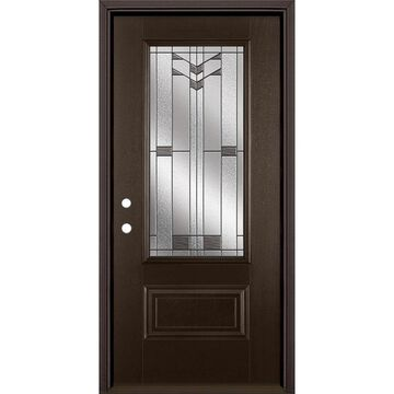 Masonite Frontier 36-in x 80-in Fiberglass 3/4 Lite Right-Hand Inswing Walnut Stained Prehung Single Front Door with Brickmould in Brown