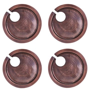 Old Dutch Hammered Antique Copper Buffet Plates with Wine Glass Holder, Set of 4 Stainless Steel   5470HAC