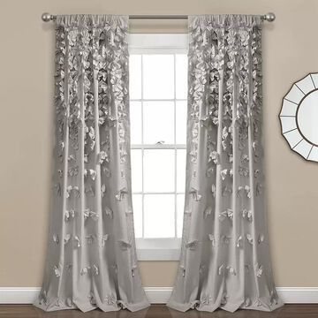 Lush Decor Riley Window Curtain Panel, Grey, 54X84