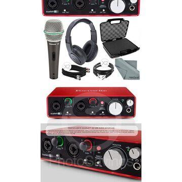 Focusrite Scarlett 2i2 (2nd Gen) USB Audio Interface and Deluxe Accessory Bun...