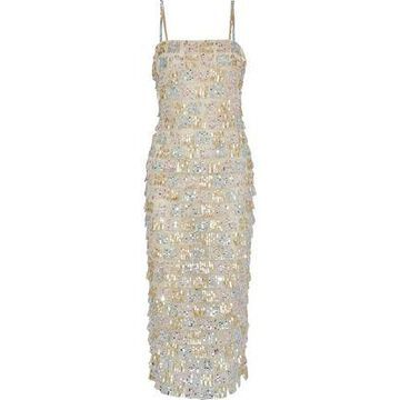 Monique Lhuillier Tiered Sequin-embellished Tulle Midi Dress