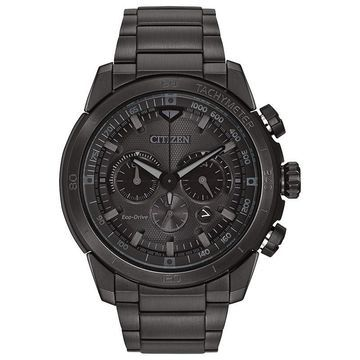 Men's Citizen Eco-Drive Chronograph Ecosphere Watch with Black Dial (Model: CA4184-81E)
