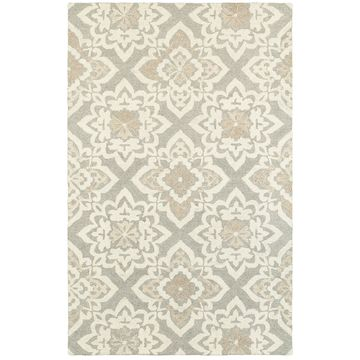 Style Haven Floral Lattice Grey/Sand Undyed Wool Handcrafted Area Rug (10' x 13') - 10' x 13'