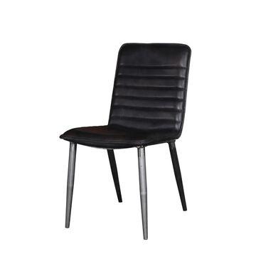 ACME FURNITURE Set of 2 Hosmer Contemporary/Modern Upholstered Dining Side Chair (Metal Frame) in Black   70422