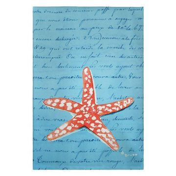 Coral Starfish Blue Script Guest Towel Set of Two