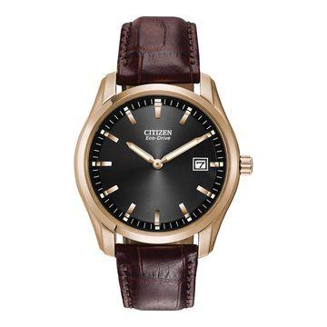 Citizen Corso Mens Brown Strap Watch-Au1043-00e