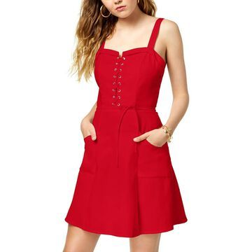 XOXO Womens Juniors Mini Lace-Up Casual Dress