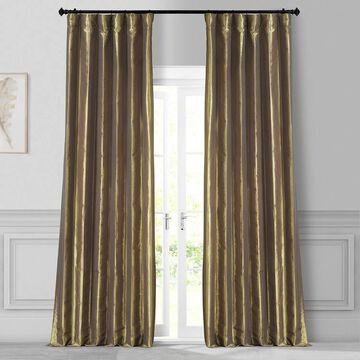 Exclusive Fabrics Gold Nugget Faux Silk Taffeta Curtain (1 Panel)