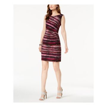 CONNECTED APPAREL Womens Purple Printed Sleeveless Boat Neck Mini Body Con Cocktail Dress Size: 4