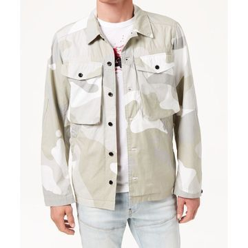 G-Star Gray Men's Size Medium M Button Down Camo Print Shirt