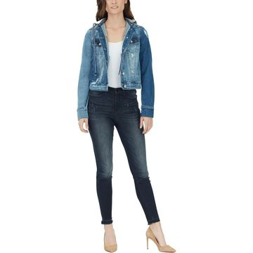 William Rast Womens Lenna Destroyed Hooded Jean Jacket