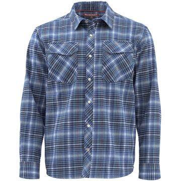 Simms Gallatin Flannel Long Sleeve Shirt - 2019 Model Rich Blue Plaid; M