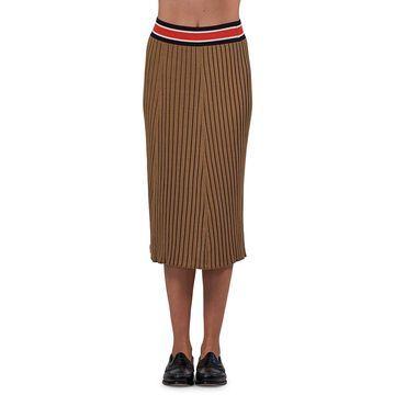 ATM Anthony Thomas Melillo Stripe Waist Rib-Knit Silk-Cotton Midi Pencil Skirt