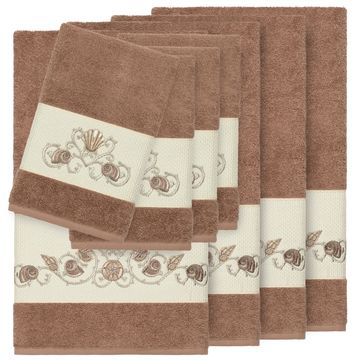 Authentic Hotel and Spa Turkish Cotton Shells Embroidered Latte Brown 8-piece Towel Set