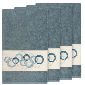 Authentic Hotel and Spa Turkish Cotton Circles Embroidered Teal Blue 4-piece Bath Towel Set