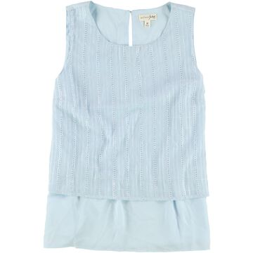 maison Jules Womens Embroidered Baby Doll Blouse