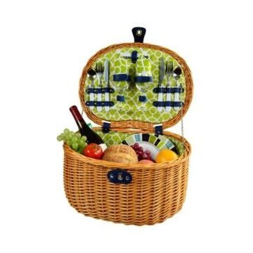 Picnic at Ascot Ramble Willow Picnic Basket with Service for 2 - Print Lining