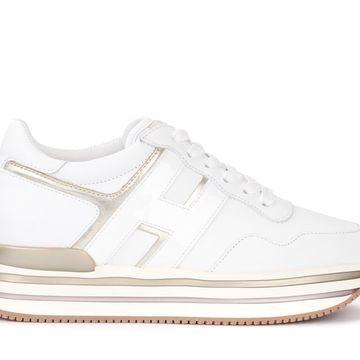 Hogan Sneaker H438 In Pelle Bianca Con Dettagli Platino