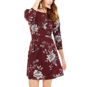 Be Bop Juniors' Floral-Print Twist-Front Dress