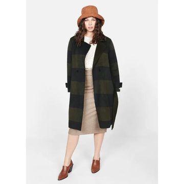 Violeta BY MANGO - Checked wool-blend coat khaki - M - Plus sizes