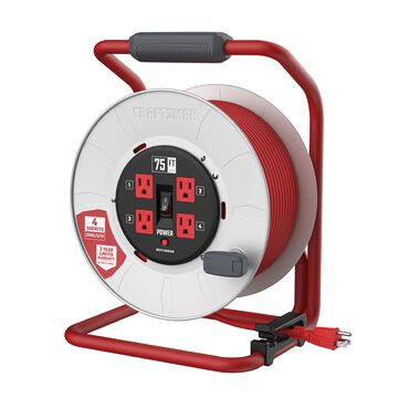 CRAFTSMAN CRAFTSMAN CONTRACTOR GRADE Retractable Extension Cord, 75 ft with 4 Outlets - 12AWG SJTW Cable - Outdoor Power Cord Reel in Red