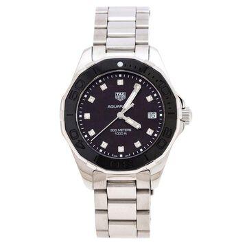 Tag Heuer Black Mother Of Pearl Ceramic Diamonds Aquaracer WAY131M Women's Wristwatch 35 mm