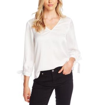 CeCe V-Neck Satin Blouse With Tie Sleeves