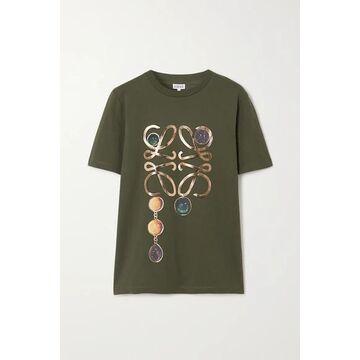 Loewe - Metallic Printed Cotton-jersey T-shirt - Green