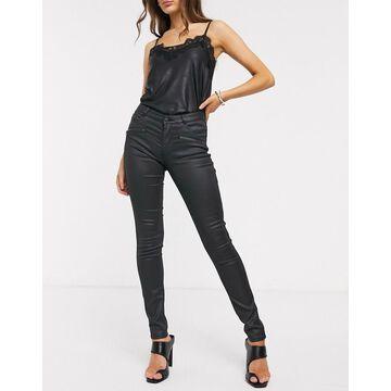 Esprit coated skinny jeans in black