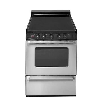 Premier 24-in Smooth Surface 4 Elements 2.9-cu ft Freestanding Electric Range (Stainless with Black Trim) Stainless Steel | ECS7X0BP
